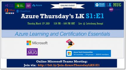 Azure Thursdays LK S1:E1–Azure Learning and Certification Essentials (12' Mar, 2020